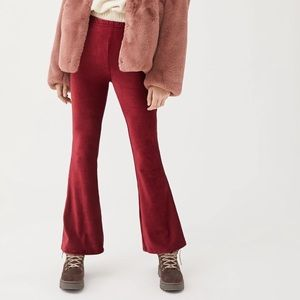 Urban Renewal Red Velvet Rib Flare Pants